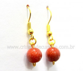 Brinco Bolinha Furado Pedra do Sol Anzol Dourado REFF BB9525