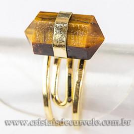 Anel Pontinha Olho de Tigre Bi Ponta Ajustavel Dourado 112581