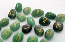 Jogo de Runas Alfabeto Antiga Europa Viking 25 Pedras Natural Quartzo Verde