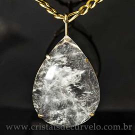 Pingente Gigante Gota Cristal Natural na Garra Dourado 125094