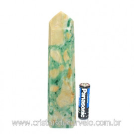Ponta Jade Verde Lapidado Pedra Natural de Garimpo Cod 121195