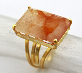 Anel Hematoide Amarela Facetado Pedra natural de Garimpo Banho Flash Dourado Aro Ajustavel REFF 22.6