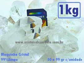 Bloquinho Cristal quartzo Semi Limpo 20 a 49 Gr  Pacote 1kg