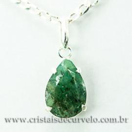 Pingente Esmeralda Facetado Berilo Prata 950 Garra 112452
