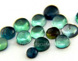 Gema Turmalina Azul Lisa Pedra Natural 0.4ct 4mm Reff TA4858