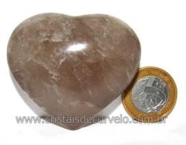 Coraçao Pedra Quartzo Fume com Esfumaçado Natural Cod 116092