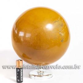 Bola Grande Jaspe Amarelo Pedra Natural 13.5cm Cod 121010