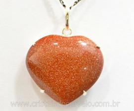 Pingente Coração Pedra do Sol Prata 950 Garra REFF CP5124