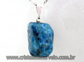 Pingente APATITA AZUL  Pedrinha Rolado Mineral Natural