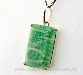 Pingente Facetado Pedra Amazonita Verde Prata 950 caixinha Garra Reforçado REFF 27.4