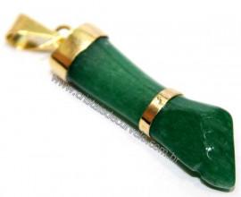 Figa Pingente Quartzo Verde Montagem Dourado Reff PF2044