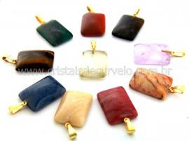 10 Pingente Retangulo Pedra Mista Dourado ATACADO REF PR8822