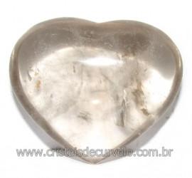 Coraçao Pedra Quartzo Fume com Esfumaçado Natural Cod 116102