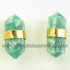 Brinco Micro Bi Ponta Envolto Pedra Amazonita Natural Dourado