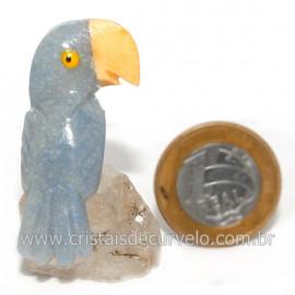 Periquito Pedra Quartzo Azul  Passaro Base Mineral Natural cod 128282