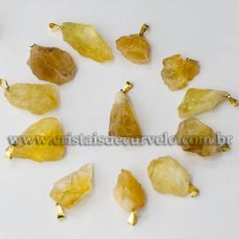 10 Pingente Pedrinha Citrino Bruto Natural Dourado ATACADO