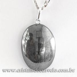 Pingente Cabochão Oval 25mm Pedra Hematita Pino Prata 950 120758