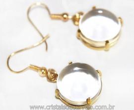 Brinco Cabochão Cristal na Garra Banho Flash Dourado Reff 110909