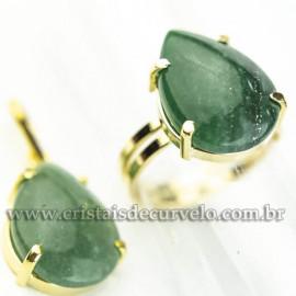 Conjunto Anel e Pingente Gota Pedra Quartzo Verde Dourado