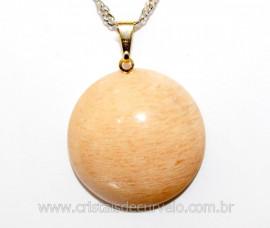 Pingente Disco Liso Pedra Amazonita Salmao Pino Dourado