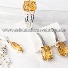 Luxuoso Conjunto Gema Topazio Imperial Extra Prata 950 112521