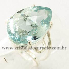 Anel Pedra Topazio Azul Facetado Prata 950 Ajustavel 112447