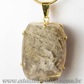 Pingente Pedra Cristal Lodolita Baguette Garra Dourada 112943