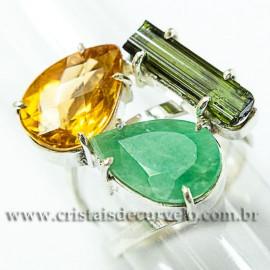 3 Pedras Citrino Esmeralda e Turmalina verde Ajustável e Prata 950
