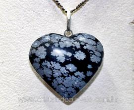 Pingente Coração Pedra Obsidiana Flocos de Neve Montado Pino Prata 950