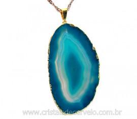 Pingente Chapa de Agata Azul Envolto Dourado REFF PA6917