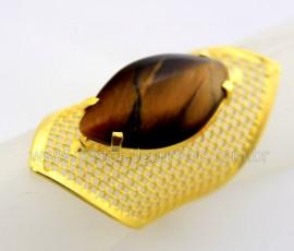 Anel Tela Pedra Olho de Tigre Navete Armação de Luxo Elegante Ajustavel Dourado   AC1931