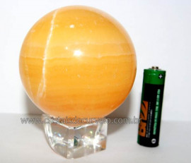 Esfera Calcita Mexicana Pedra Natural de Garimpo Lapidada Cod EM7635