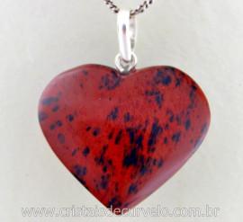 Pingente Coração Pedra Obsidiana Mahogany Prata 950 Pino e Perinha
