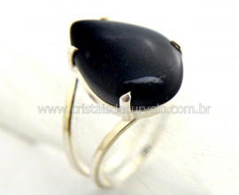 Anel Gota Pedra Obsidiana Negra Prata Aro Ajustavel AP4772