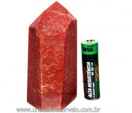 Ponta Quartzo Vermelho Pedra Natural de Garimpo Cod PQ6346
