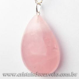 Pingente Gota Pedra Quartzo Rosa G Pino Prata 950 Ref 113056