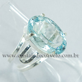 Anel Pedra Topazio Azul Facetado Prata 950 Ajustavel 112450