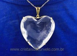 Pingente Extra Coração Facetado Pedra Quartzo Cristal Montagem Garra Dourado