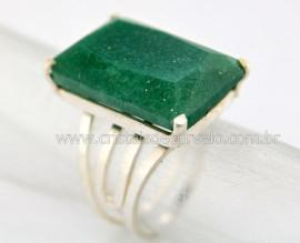 Anel Prata 950 Pedra Quartzo Verde Multifacetado Aro Ajustavel ao Dedo REFF 19.1