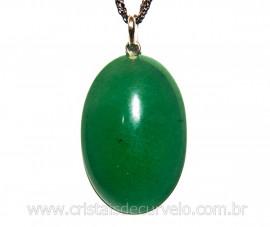 Pingente Cabochão Oval Pedra Quartzo Verde Pino Prata 950 CP5991