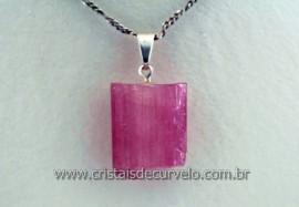 Pingente Canudo de Turmalina Rosa na prata 950 Pino e Presilha