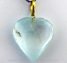 Pingente Coração Pedra Topazio Azul Extra Castoação OURO 18ct Pino e Perinha