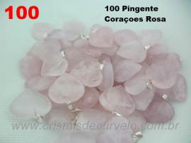 100 Coração ROSA Pedra Quartzo Pingente Banhado Prata