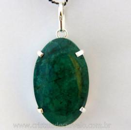 Pingente Crisocola Extra Cabochao Oval Pequeno Pedra Natural Montagem Garra Prata 950