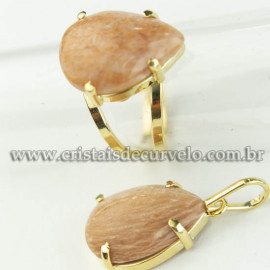 Conjunto Anel e Pingente Gota Pedra Amazonita Pêssego Dourado