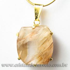 Pingente Pedra Cristal Rutilo Baguette Garra Dourada 112951