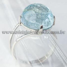 Anel Pedra Topazio Azul Disco Liso Prata 950 Ajustavel