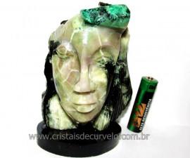 Busto de Artesanato Rosto Esculpido Pedra Esmeralda Cod RE4955