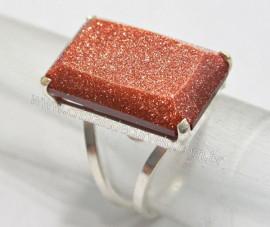 Anel Prata 950 Pedra do Sol Multifacetado Aro Ajustavel ao Dedo REFF 44.9