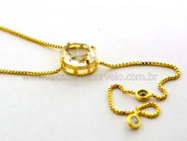 Colar Gravata Pedra Cristal Gema Natural Dourado Reff CG5240